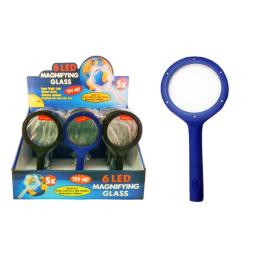 6-Led Magnifying Glasses - Assorted Colors