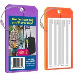 Brite I.d. 25012-puro Virtually Indestructible Neon Acrylic Luggage Tag - Purple & Orange