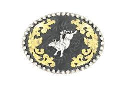 Nocona Western Belt Buckle Oval Bull Rider Black Silver 3704802