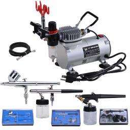 3 Multi-purpose Professional Airbrush Kit Compressor Dual-action Spray Air Brush Set Tattoo Nail Art 31AIR028-AS182-KIT