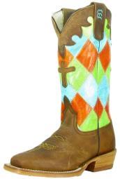 Anderson Bean Western Boots Girls Cowboy Kids Patchwork Honey K7033