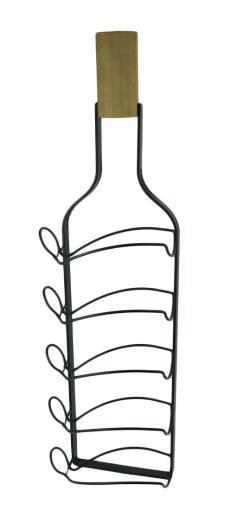 Wine Bottle Shaped 5 Bottle Hanging Wine Rack