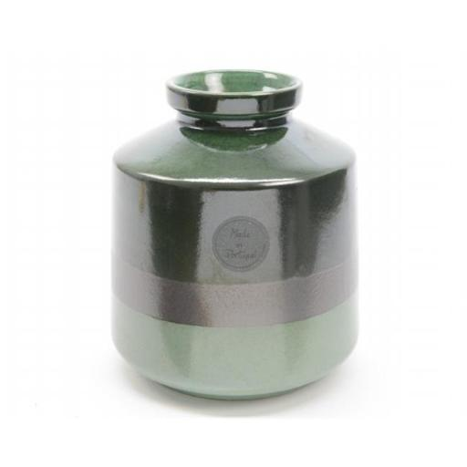 Northlight Seasonal 31522020 6.75 in. Botanic Beauty Two-Tone Green Color Flow Earthenware Ceramic Vase