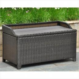 International Caravan Inc 4221-BKA Barcelona Resin Wicker- Aluminum Storage Bench with Edge Lip - Black