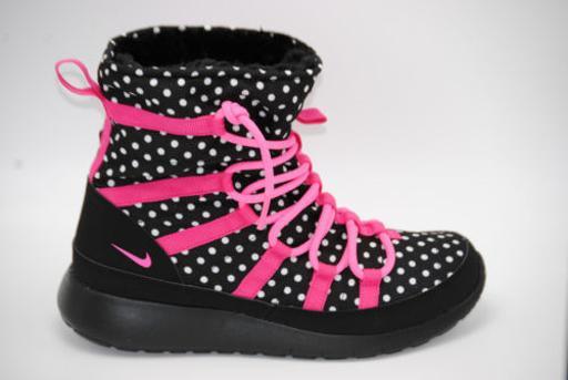 best sneakers ea421 00b6e NIKE ROSHE ONE HI PRINT GS BOOTS GIRLS NIB 807744-001 BLACK/PINK SZ 4.5y
