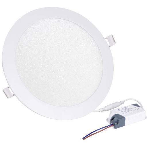 Yescom 18W Round Flat Panel Light, 3000K Warm White, 1800 Lm, LED Recessed Panel Down Light Office Commercial Lighting