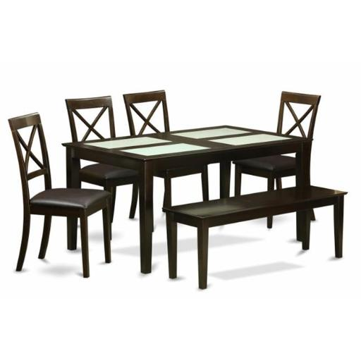 6 Piece Dining Room Table With Bench-Table With Glass Table Top Inserts and 4 Dining Chairs