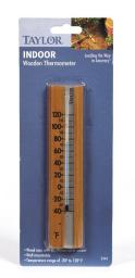 """Taylor 5141 Indoor Wooden Wall Thermometer, 2"""" X 7"""""""