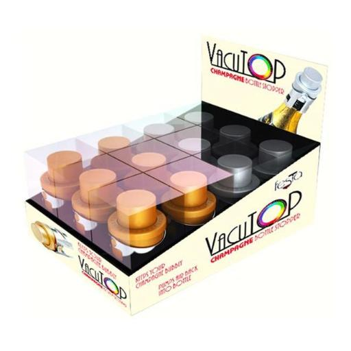 Zees Creations VT1300-PDQ Vacutops Champagne Stopper Assorted Prepack, Gold & Silver - 12 Piece