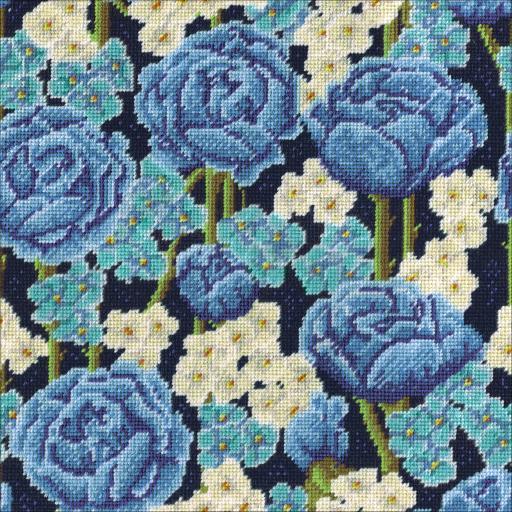 """Blue Roses Needlepoint Kit-12""""X12"""" Stitched In Yarn 32CMBHFWXYEQYGEF"""