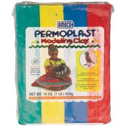 Permoplast Clay 1lb-red, Green, Blue & Yellow