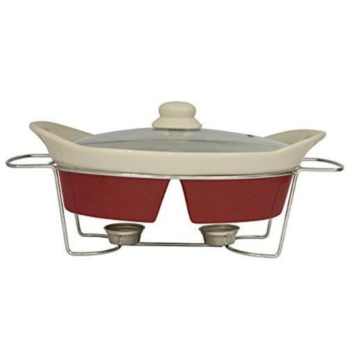 J Miles UH-CD139 Oven Safe Divided Oval Casserole Dish with Glass Lid, Metal Trivet Rack & Tealight Warmer