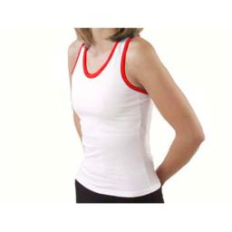 Pizzazz Performance Wear 9800T -WHTRED-2XL 9800T Adult Racer Back Top with Trim - White with Red - 2XL