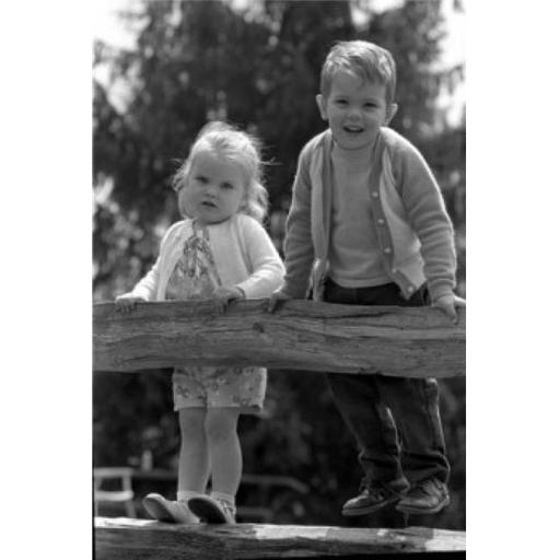 Posterazzi SAL2559984 Boy & Girl Standing on Rail Fence Poster Print - 18 x 24 in.