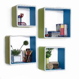 Clear Blue Square Leather Wall Shelf / Bookshelf / Floating Shelf (Set of 4)