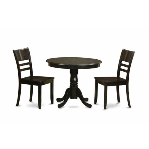 East West Furniture ANLY3-CAP-W 3 Piece Kitchen Table Set-Kitchen Dining Nook Plus 4 Dining Chairs