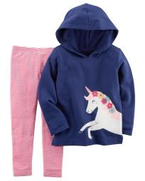 Carter's Baby Girls' 2-Piece French Terry Hoodie & Striped Legging Set, 3 Months