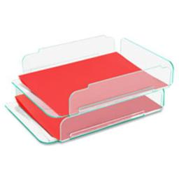 Lorell LLR80655 Stacking Letter Tray, 2-PK, 13 in. x 10.25 in. x 2.75 in., CL-Green
