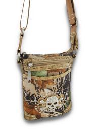 Camo Print Cross Body Bag w/Mock Croc Trim and Skull/Crossbones Accent