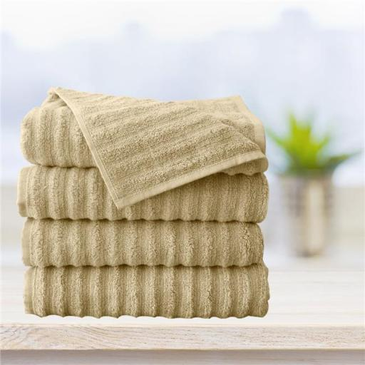 Affinitylinens WAVY4BATH-BGE Spa 4 Piece 100 Percent Zero twist Cotton Bath Towels - Beige