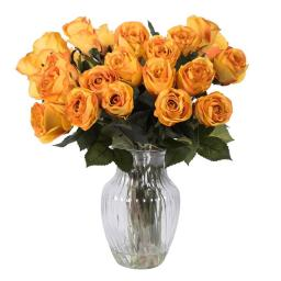 Vickerman F12189 Orange Rose Arrangement Everyday Floral - 16 in.