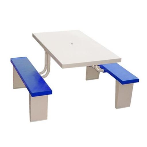 Prairie View PIC2848-B 4 Seats Aluminum Rectangular Picnic Table, Blue - 30 x 28.5 x 48 in.