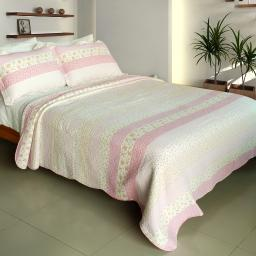 Crystal Soul 100% Cotton 3PC Vermicelli-Quilted Patchwork Quilt Set Full/Queen