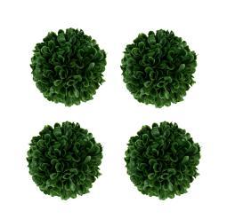 Green Artificial Boxwood Ball Centerpiece Vase Filler Set of 4