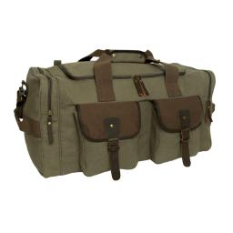 Rothco 5953 Long Journey Canvas Travel Bag, EDC Duffle Bag, Olive Drab w/Brown