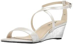 Annie Shoes Women's Alice W Wedge Sandal,Pearl White,6 W US