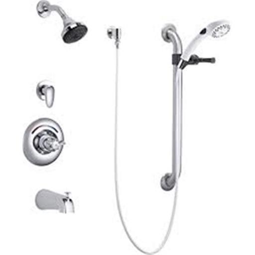 Delta Commercial T13H933 13 Series Chrome Single Handle Tub & Shower Valve Trim, Diverter, Hand Shower & Grab Bar
