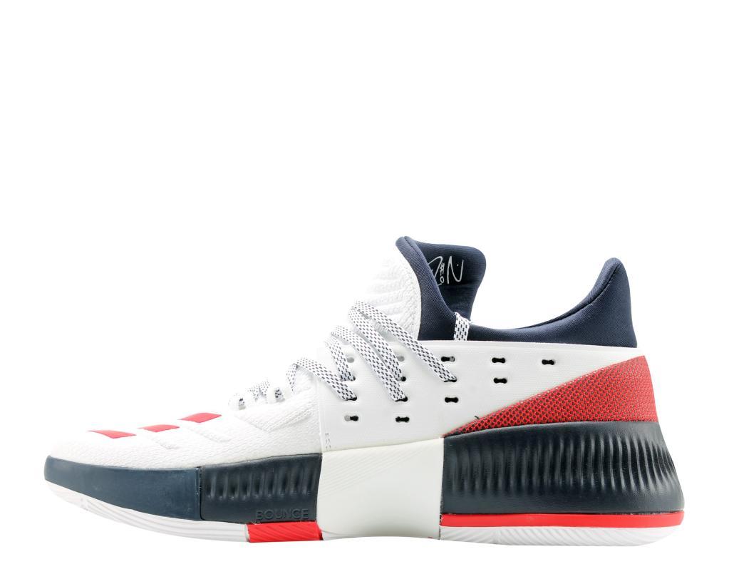 64eae1044c5 Adidas Adidas D Lillard 3 Dame 3 USA White Scarlet Navy Men s Basketball  Shoes BY3762