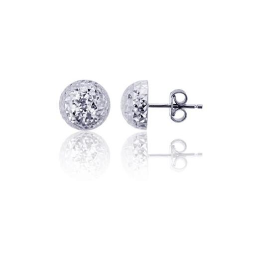 YGI FME4310W-8 14K White Gold Diamond Cut 8 mm. Half Ball Stud Earring