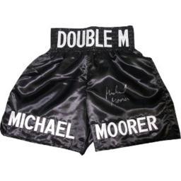 Athlon Ctbl-013964 Michael Moorer Signed Black Satin Boxing Trunks - Double M-heavyweight Champion