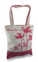 Panama Jack Palm Tree Silhouettes Zippered Jute Shoulder Tote Bag