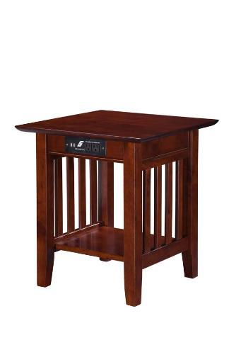 Atlantic Mission End Table with Charger Walnut