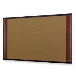 3m mobile interactive solution c4836my cork board, mahogany finish frame