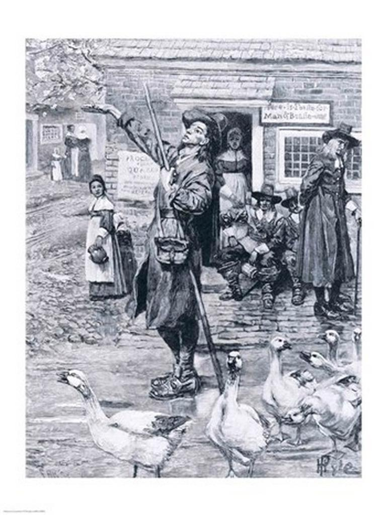 A Quaker Exhorter in New England, illustration from 'The Second Generation of Englishmen in America' Poster Print by Howard Pyle