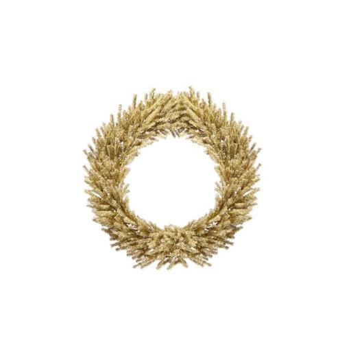 Vickerman 32269896 30 in. Sparkling Champagne Gold Tinsel Artificial Christmas Wreath - Unlit