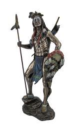Sioux Tribe Warrior Statue with Spear and Shield