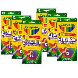 Crayola llc 6 bx erasable colored pencils 684412bn