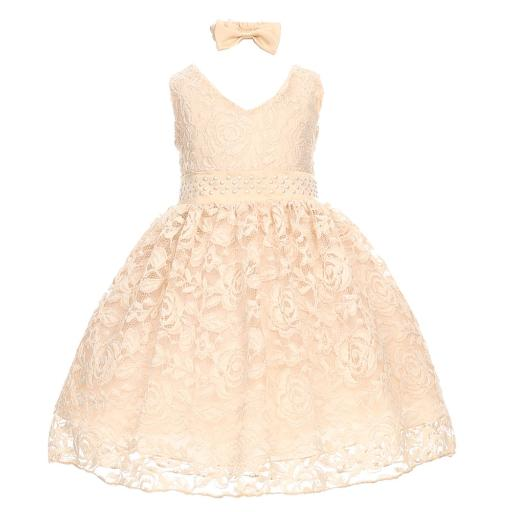 Little Girls Champagne Rose Lace Overlay Beaded Waist Occasion Dress 2-4T