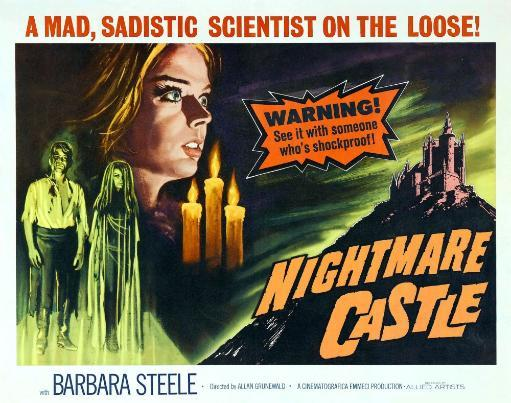 Nightmare Castle Top Left: Barbara Steele; Bottom Left From Left: Rick Battaglia Barbara Steele; Half-Sheet Poster 1965. Movie Poster Masterprint V8P7ZAH7MF62EXNL