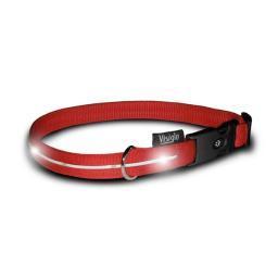 Visiglo 305 Red / White Visiglo Nylon Collar With Led Lights Medium Red / White