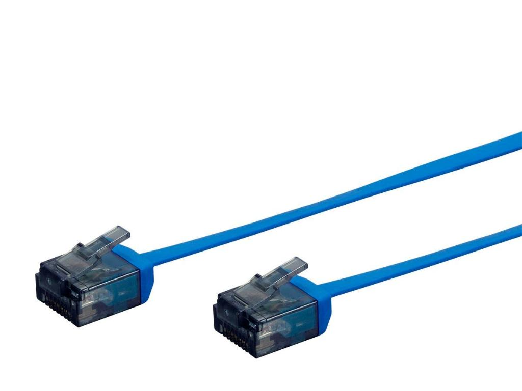 Monoprice Cat6 Ethernet Patch Cable - 0.5 feet - Blue | Flat, Stranded, 550MHz, UTP, Pure Bare Copper Wire, 34AWG  - Micro SlimRun Series