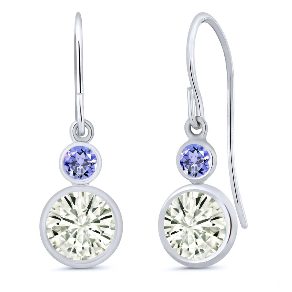 14K White Gold Dangle Earrings Forever Classic Round 1.60ct (DEW) Created Moissanite by Charles & Colvard and Tanzanite