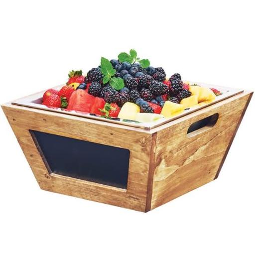 Cal Mil 3593-12-99 Madera Reclaimed Wood Chalkboard Bowl - 12 x 12 x 6 in.