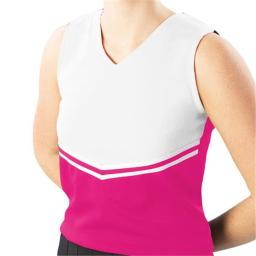 Pizzazz Performance Wear UT45 -HPKWHT-2XL UT45 Adult V-Stripe Uniform Shell - Hot Pink with White - 2XL