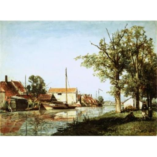 Posterazzi SAL900141613 A Dutch Canal Scene 1859 Johan Barthold Jongkind 1819-1891 Dutch Oil on Canvas Poster Print - 18 x 24 in.