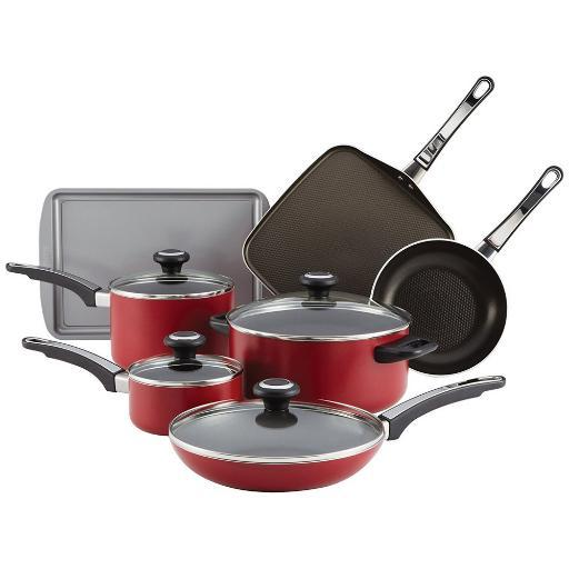 Farberware 21567 High Performance Aluminum Nonstick 12-Piece Cookware Set Red